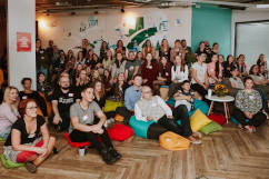 Group photo during lighting talks on Rails Girls Warsaw